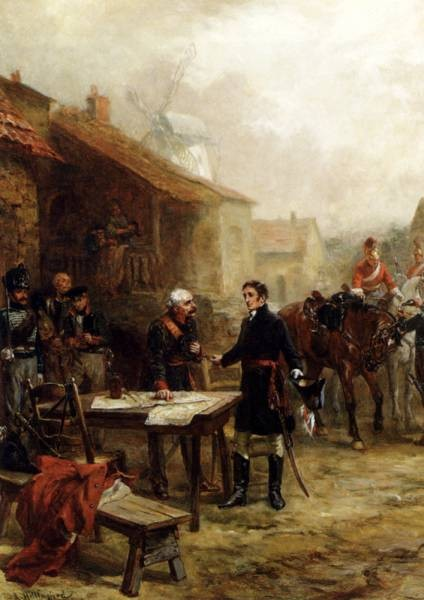 Wellington And Blucher Meeting Before The Battle Of Waterloo